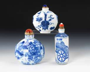 3 Snuffbottles China in under glass