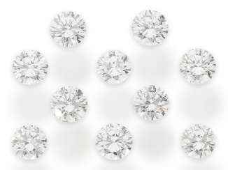 Brilliant: a valuable collection of 10 brilliant-cut diamonds of total approx. 3,58 ct