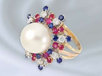 Ring: Golden, fine ladies ' ring with precious, large South sea pearl and diamonds/color stones