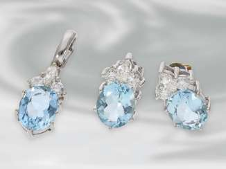 Earrings/pendant: beautiful white gold aquamarine jewelry with brilliant-cut diamonds, approx 1.05 ct