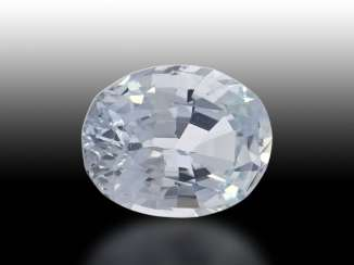 Sapphire: white, natural sapphire from 8.21 ct with a slight light blue tinge