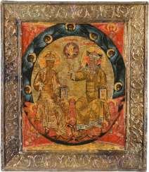 A FINE ICON WITH THE NEW TESTAMENT TRINITY WITH BASMA Russia
