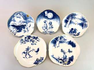 Five Institutional / Wall Plate: Meissen Porcelain Adorns. The Fairy Tale Teller / Songs-Teller. Cobalt blue and Gold.