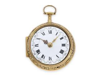 Pocket watch: gold English double case-Spindeluhr of outstanding quality, and very early a toc et a tact repeater, master watchmaker: Fromanteel & Clarke, London, CA. 1690-1700