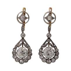 Pair of drop earrings from the Belle Époque with diamonds together approx. 4,1 ct