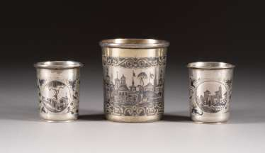THREE NIELLO BEAKER WITH ARCHITECTURAL VIEWS