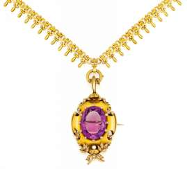 Gold necklace with Amethyst-pearl-pendant/brooch