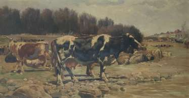 Oil Landscape with cows in a Naturalist style by Ramon Mestre Vidal
