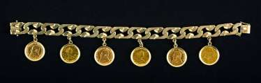Golden charm bracelet with Gold coins