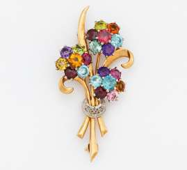 Color stone and diamond brooch