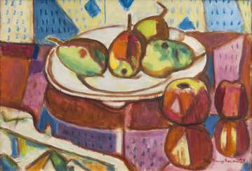 Table still life with pears and Apples. Ivo Hauptmann