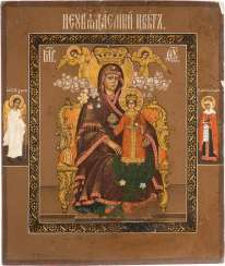 A SMALL ICON WITH MOTHER OF GOD 'IS NOT WILTING FLOWER'