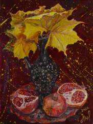 Leaves and pomegranates