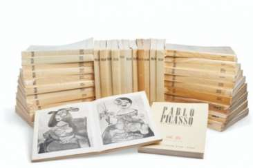 Christian Zervos (1889-1970). Pablo Picasso, Paris: Cahiers d'Art, 1942-1978. 34 volumes (with vol. 2 in 2 parts), complete set, mixed editions, of the essential work on Picasso. Original printed wrappers and glassine. Each: 127⁄8 x 10 in. (32.7 x 25.2 cm
