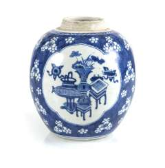 Under glaze blue shoulder pot with decor of Antiques