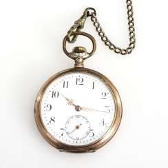 Silver pocket watch on a silver watch chain