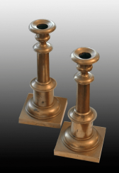 Candlesticks, pair Russian bronze nineteenth century
