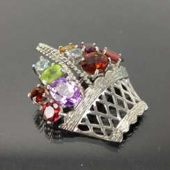 Pendant / brooch as a flower basket with color stones.