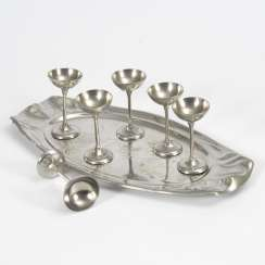 Art Nouveau tray with 6 liqueur glasses Kayser TIN