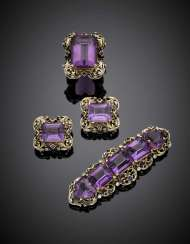 TRABUCCO | Bi-coloured gold amethyst diamond and sapphire jewelry set comprising cm 7.1 circa brooch