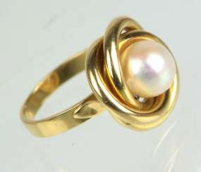 Akoya Perl Ring Gelbgold 750