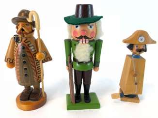 Three Christmas Characters: Nutcracker Hunter, Smoker Man Night Watchman, Smoking Man, Napoleon. The ore mountains, handmade, very g