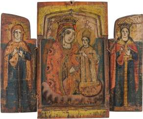 TRIPTYCH WITH THE MOTHER OF GOD 'NEVER WITHING FLOWER' WITH TWO SAINTS Greece