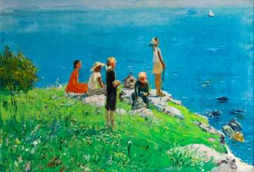Monumental and atmospheric paintings with children by the water