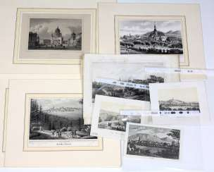 12 Engravings Of Views 19. Century