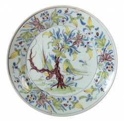 Faience plate with bird painting, 18./19. Century