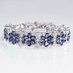 Sapphire and diamond bracelet with flower decor