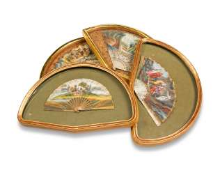 FOUR FANS FROM THE MESSEL-ROSSE FAN COLLECTION: FOUR GILTWOOD CASED FANS