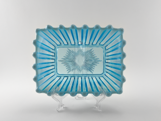 Vase of pressed colored glass, England, the company is Davidson, perfect condition, 1889