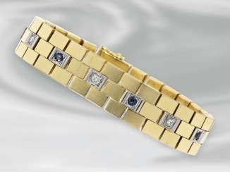 Bracelet: heavy vintage gold work set with diamonds and sapphires, 18K Gold forging