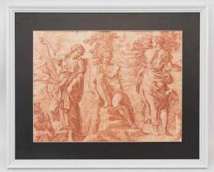 UNKNOWN ARTIST, HERCULES AT the CROSSROADS, red chalk on paper, probably 17. Century