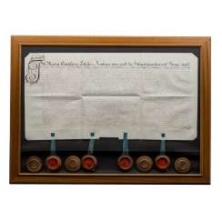 Document, behind glass, framed 18. Century, 4 seals,
