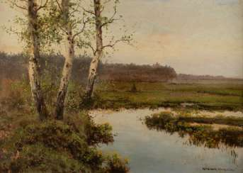 VICTOR KORECKI 1890 Kamyanets-Podilsky, Ukraine - 1980 Komorow/ Poland river landscape with birch trees