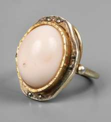Ladies ring with angel skin coral