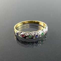Ladies ring / locking ring: yellow gold and white gold 585, rubies, sapphires, emeralds and brilliant-cut diamonds,