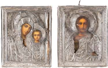 FEW SMALL-SCALE WEDDING ICONS WITH SILVER-OKLAD
