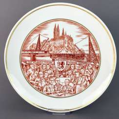 Gerhard Schiffner for the state porcelain manufactory Meissen honorary gift plate reconstruction Meissen 1946, rare.