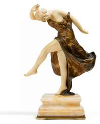 Ivory, bronze and onyx figurine of a young dancer
