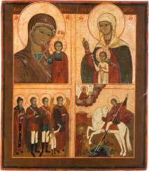 LARGE-FORMAT, FOUR FIELDS ICON WITH THE MOTHER OF GOD OF KAZAN AND SELECTED SAINTS
