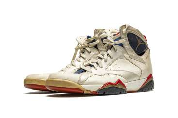 "Air Jordan 7 ""Olympic,"" Player Exclusive, Game-Worn Sneaker"