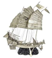 SHIP MADE OF SILVER PLATE, CHINA,