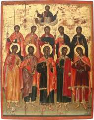 MAJOR SIGNED ICON WITH TEN SELECTED SAINTS AND CHRIST Crete