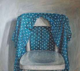 Sabine Christmann: Dotted blouse over the back of the chair.