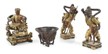 THREE WOODEN FIGURES, MOUNTED,