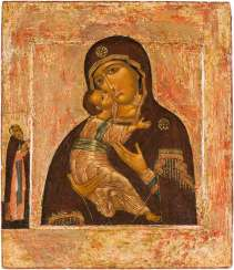 VERY FINE ICON WITH THE MOTHER OF GOD OF VLADIMIR (VLADIMIRSKAJA) Russia