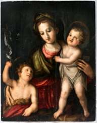 Very large panel painting of the Madonna with the infant Jesus and John boys